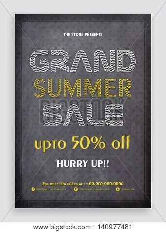 Chalkboard Style, Grand Summer Sale Flyer, Sale Banner, Sale Pamphlet, Sale Poster, Discount Upto 50% Off, Vector Sale Illustration.
