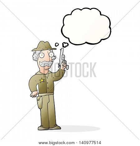 freehand drawn thought bubble cartoon sheriff