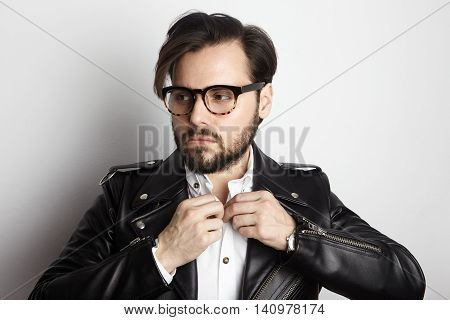 Handsome Bearded Man Wearing Stylish Shirt Black Leather Jacket.Beauty, Lifestyle, People Concept Photo.Adult Serious Hipster Guy Empty White Background.Horizontal