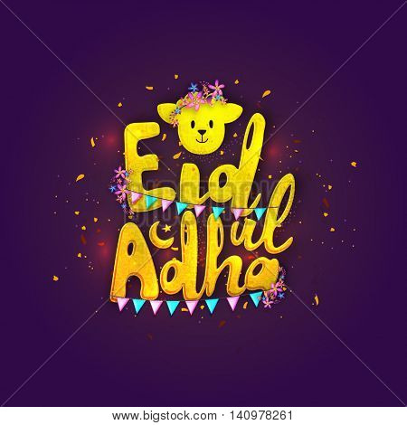 Stylish yellow Text Eid-Ul-Adha with cute Sheep Face on glossy purple background for Muslim Community, Festival of Sacrifice Celebration. Vector greeting card design.