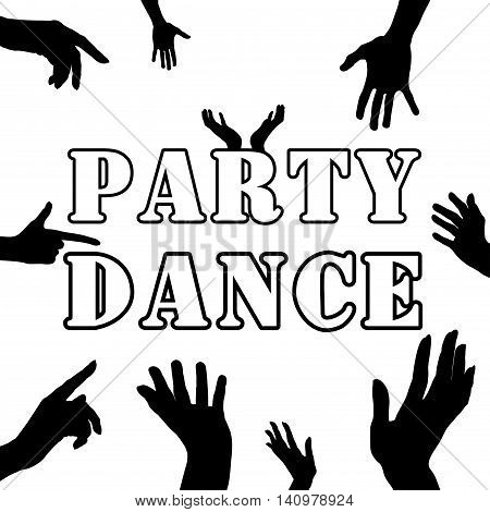 Party dance . Hands silhouette. Upper limb man. Index finger . Black and white style. Retro