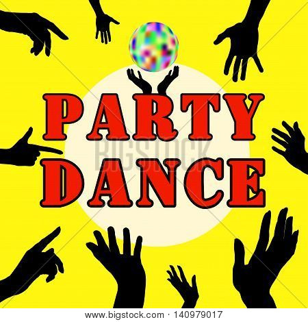 Party dance . Hands silhouette. Upper limb man. Index finger. Business cards, flyers invitations
