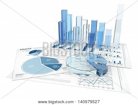 Financial documents with 3D graphs and pie charts of glass.