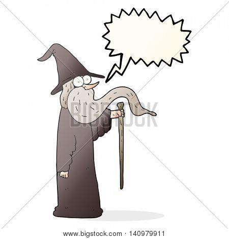 freehand drawn speech bubble cartoon wizard