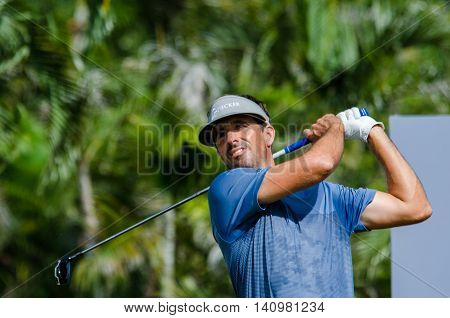 CHONBURI - JULY 31 : Tom Johnson of USA in King's Cup 2016 at Phoenix Gold Golf & Country Club Pattaya on July 31 2016 in Chonburi Thailand.