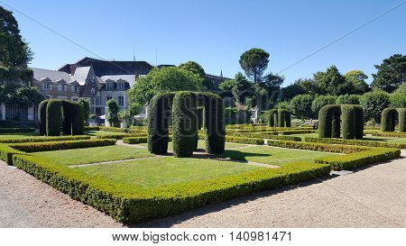 The interior gardens at the Chateau of Angers, France