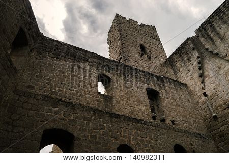 Old Medieval Fortress Ruins Of Chateau Spesbourg In Deep Forest