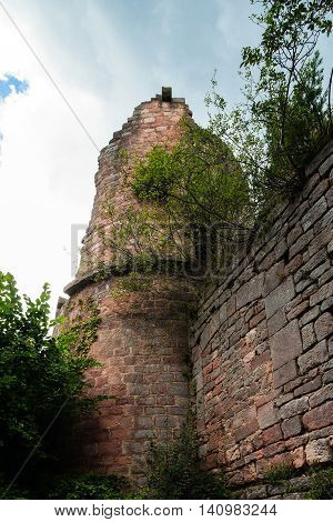 Old Medieval Fortress Ruins Of Chateau Landsberg In Deep Forest