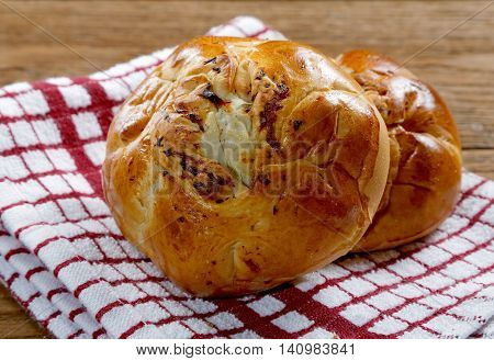 Buns With Mushrooms On A Kitchen Towel