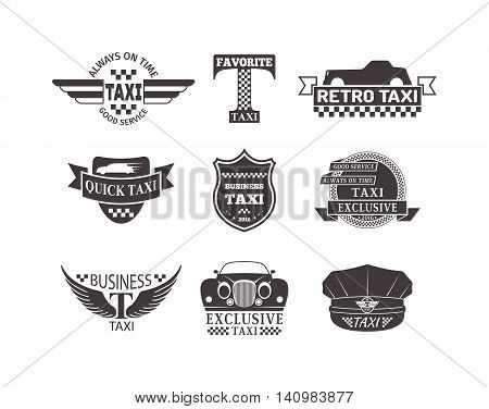 Vintage and modern taxi logos taxi label, taxi badges and design elements.