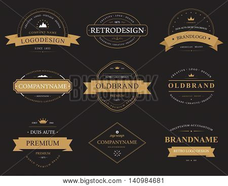 Set of classic vintage or retro, old or aged banners or labels, logotype and symbol, badge or sign with mountains and stars, ribbon and arrows, crown. Can be used for company quality certificate