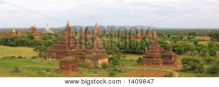 Landscape Of The Valley At The Sunset With The Temples And Stupas, Bagan, Myanmar, Panorama