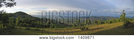 Large View On The Valley With Ricefields And Rich Ground, Kalaw, Myanmar, Panorama