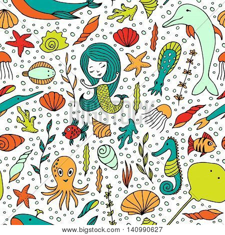 Seamless pattern marine life. Fish, algae, sea animals, seashell, mermaid and bubbles drawn by hand in cartoon style on white background.