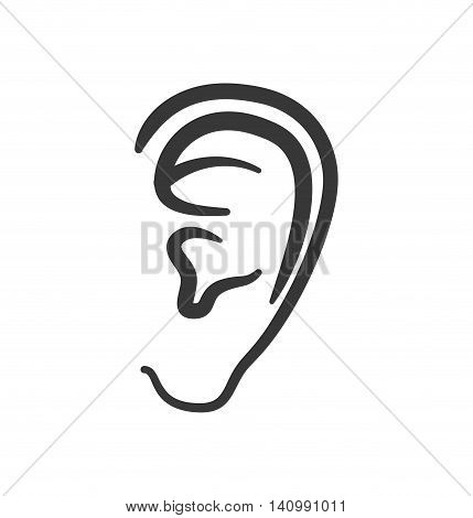 ear human listen sound body part icon. Isolated and flat illustration. Vector graphic