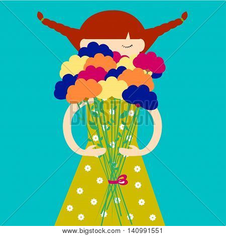 Girl with bouquet of flowers Redhead girl in dress with flower print holding a bouquet of flowers in hands Blue background Flat design