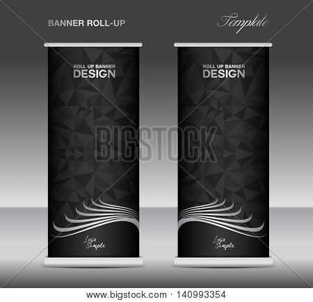 Black and white Roll up banner template vector banner design stand black polygon background