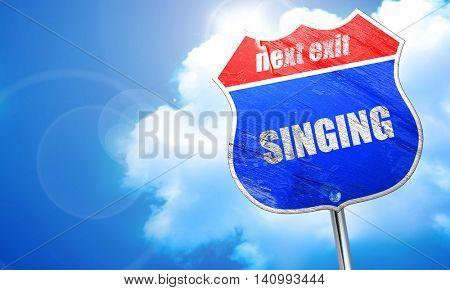 singing, 3D rendering, blue street sign