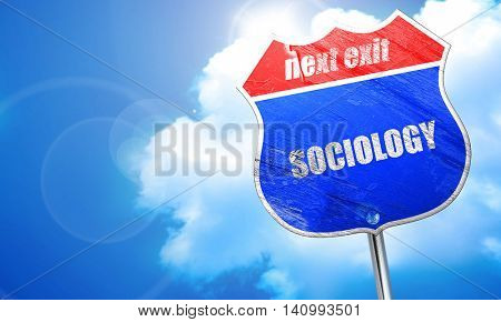 sociology, 3D rendering, blue street sign