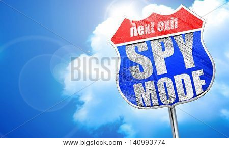 spy mode, 3D rendering, blue street sign