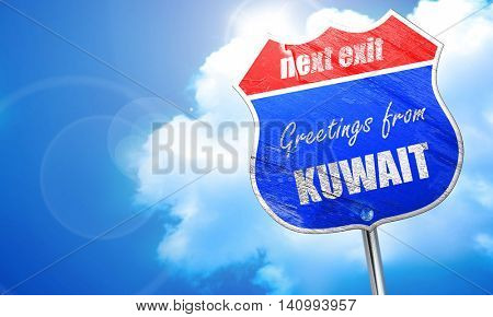 Greetings from kuwait, 3D rendering, blue street sign