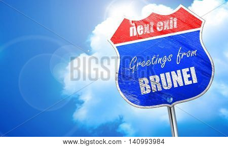 Greetings from brunei, 3D rendering, blue street sign
