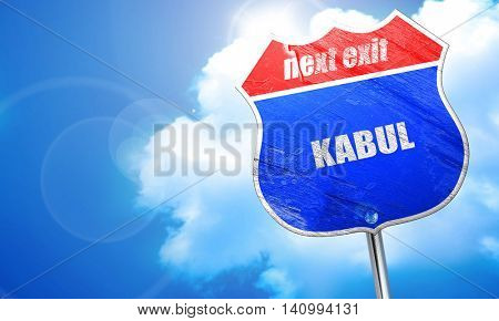 kabul, 3D rendering, blue street sign