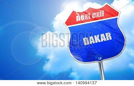 dakar, 3D rendering, blue street sign