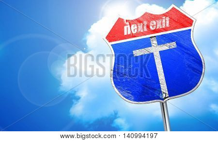 Christian cross icon, 3D rendering, blue street sign