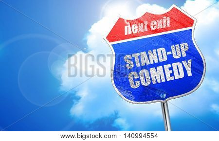 stand-up comedy, 3D rendering, blue street sign