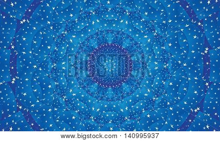 Concentric blue colorful kaleidoscopic background / Mantra background