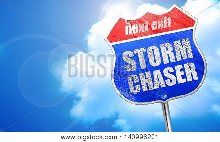 storm chaser, 3D rendering, blue street sign