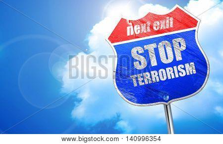 stop terrorism, 3D rendering, blue street sign