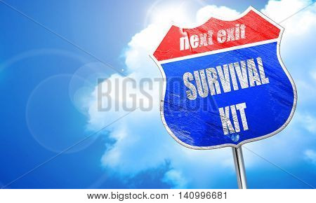 Survival kit sign, 3D rendering, blue street sign