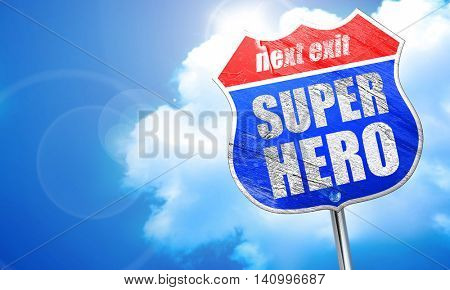 super hero, 3D rendering, blue street sign