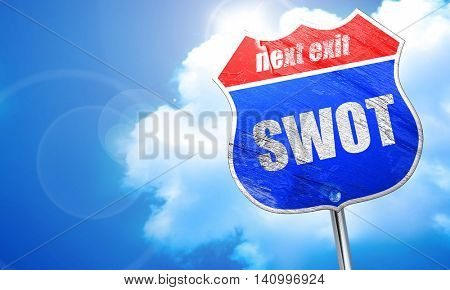 swot, 3D rendering, blue street sign
