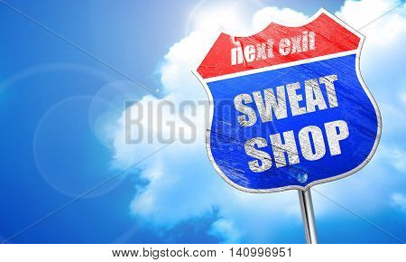 Sweat shop background, 3D rendering, blue street sign
