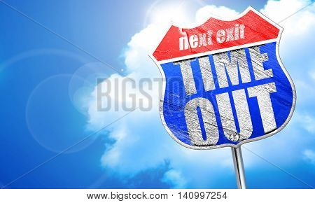 time out, 3D rendering, blue street sign
