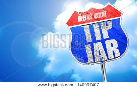 tip jar, 3D rendering, blue street sign