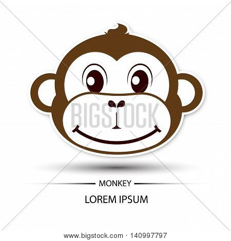 Monkey face beatific smile logo and white background vector illustration