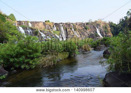 tropical cascading Pongour waterfall in the dry season near dalat vietnam