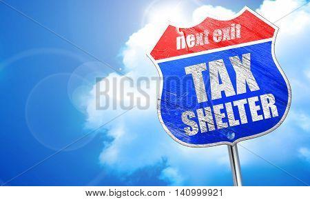 tax shelter, 3D rendering, blue street sign