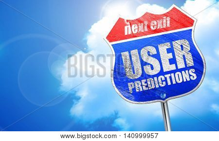 user predictions, 3D rendering, blue street sign