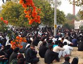 picture of muharram  - People in a mourning congregation at a cemetery in lucknow india - JPG
