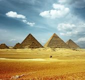 stock photo of the great pyramids  - Grate pyramids in Giza valley - JPG