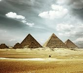 image of the great pyramids  - Grate pyramids in Giza valley - JPG