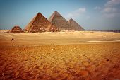 stock photo of the great pyramids  - Giza valley with Great pyramids - JPG