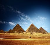 pic of the great pyramids  - Giza valley with Great pyramids and blue sky with clouds - JPG