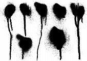 picture of mud pack  - black grungy spray drips on white background - JPG