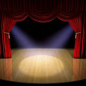 stock photo of stage theater  - Theatre stage with red curtain and spotlights on the stage floor - JPG
